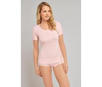 Shirt kurzarm Feinripp rosé - Naturschönheit