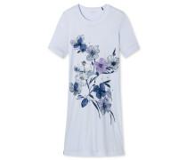 Nachthemd kurzarm Blumen hellblau - Sometimes feelin´ blue