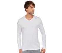 Langarmshirt V-Ausschnitt Cotton-Modal-Jersey weiß - Mix & Relax