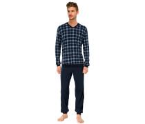 Schlafanzug lang Jersey Vollbündchen blau kariert - Essentials