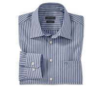 Hemd langarm bügelfrei Kent-Kragen graublau-weiß gestreift - REGULAR FIT