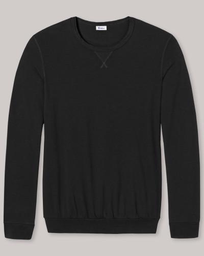 Sweateshirt leichte Sweatware Bündchen schwarz - Revival Anton für Herren