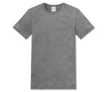 Shirt kurzarm Feinripp grau meliert - Modern Rib