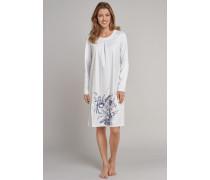 Nachthemd langam Interlock Seidenfinish Blumen silber-weiß - Rhapsody für Damen