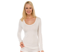 Shirt langarm V-Ausschnitt cremeweiß - Naturschönheit