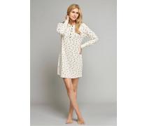 Sleepshirt langarm Interlock beige meliert bedruckt - Selected! Premium