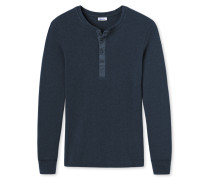 Shirt langarm Grobstrick mit Knopfleiste dunkelblau meliert - Revival Erich