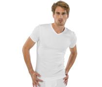 Shirt kurzarm V-Ausschnitt weiß - Naturbursche