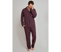 Pyjama lang Flanell rot-grau kariert - Selected! Premium