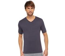 Shirt kurzarm V-Ausschnitt Cotton-Modal-Jersey anthrazit - Mix & Relax