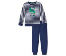 Schlafanzug lang Interlock Bündchen naturmelange-blau geringelt - Otto lernt Rechnen