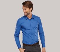 jeansblaues, tailliertes Oberhemd mit Kentkragen für Herren