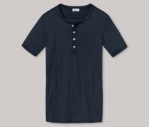 Schiesser Shirt kurzarm Doppelripp dunkelblau - Revival Heinrich für Herren