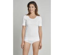 Shirt Doppelripp kurzarm weiß - Fräuleinwunder für Damen