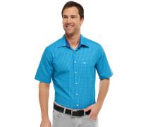 Oberhemd KENT-Kragen kurzarm grün-blau kariert REGULAR FIT