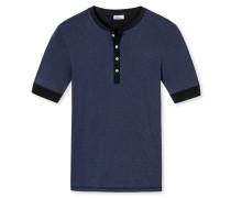 Shirt kurzarm mit Knopfleiste blauschwarz geringelt - Revival Karl-Heinz