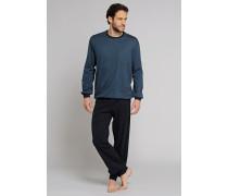 Schlafanzug lang Jersey Bündchen blaugrau bedruckt - Northern Lights
