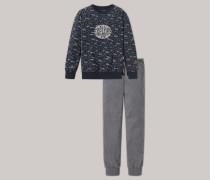 Schlafanzug lang Raglan-Schnitt anthrazit bedruckt - Metropolitan für Jungen,Schlafanzug lang Raglan-Schnitt anthrazit bedruckt -etropolitan für Jungen
