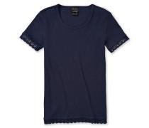Shirt kurzarm mit Spitze Doppelripp nachtblau - Long Life Cotton