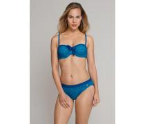 Schiesser Bandeau-Bikini mit Tai-Slip variable Träger petrol - Aqua Isla Island für Damen