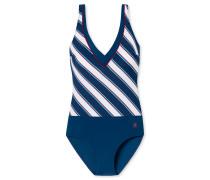 Badeanzug Shape-Effekt Streifen V-Ausschnitt mehrfarbig - Aqua Rimini