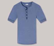 Schiesser Shirt kurzarm mit Knopfleiste indigo meliert - Revival Karl-Heinz für Herren