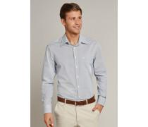 Schiesser Hemd langarm Kent-Kragen blau gemustert - REGULAR FIT für Herren