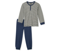 Schlafanzug lang Interlock Bündchen Ringel - Family