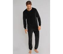 Schlafanzug Velours lang Bündchen schwarz-grau geringelt - Bavarian Roots