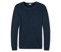 Shirt langarm Grobstrick dunkelblau meliert - Revival Erich