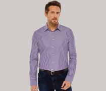 Hemd langarm Kent-Kragen lila-weiß gestreift - SLIM FIT für Herren