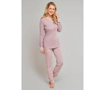 Schlafanzug lang Modal-Qualität havanna geringelt - cosy nights