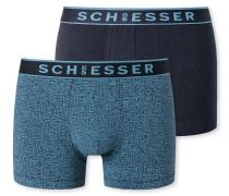 Shorts 2er-Pack blau uni gemustert
