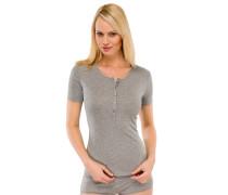 Shirt kurzarm Feinripp grau-melange - Naturschönheit