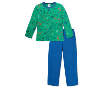 Schlafanzug lang Jersey grün gemustert - Otto lernt Rechnen