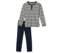 Schlafanzug lang Interlock mehrfarbig geringelt - Original Classics