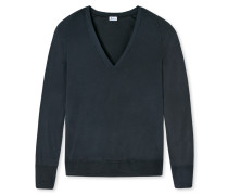 Shirt Feinripp Fledermausärmel V-Ausschnitt blauschwarz - Revival Amelie