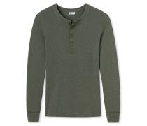 Shirt langarm Grobstrick mit Knopfleiste khaki meliert - Revival Erich