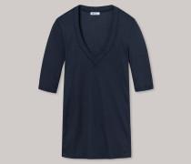Schiesser Shirt kurzarm V-Ausschnitt Doppelripp blauschwarz - Revival Marie für Damen