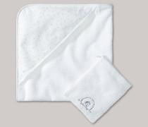 Schiesser Baby-Badeset aus Handtuch und Waschlappen unisex Frottee weiß - Original Classics