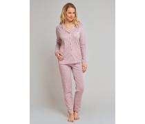 Pyjama lang Interlock havanna bedruckt - cosy nights