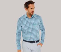 Schiesser Hemd langarm Button-Down-Kragen grau-blau kariert - REGULAR FIT für Herren