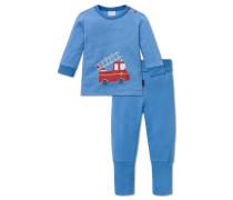 Babyanzug Interlock 2-teilig hellblau-weiß geringelt - Feuerwehrmann