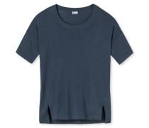 Shirt kurzarm Feinstrick mit Kaschmir Touch blau - Revival Lea