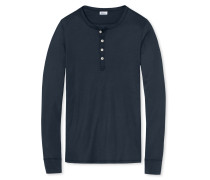 Shirt langarm Doppelripp dunkelblau - Revival Heinrich