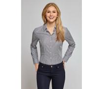 Bluse langarm navy-weiß gestreift - tailliert für Damen