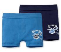 Shorts Feinripp blau (2er-Pack)