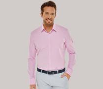 Hemd langarm Kent-Kragen rosa-weiß kariert - SLIM FIT für Herren