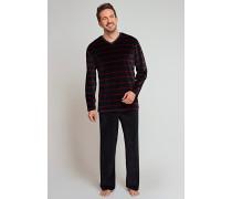 Schlafanzug Velours bordeaux-schwarz geringelt - Scotland Yard