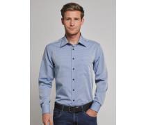 Hemd langarm bügelfrei Kent-Kragen hellblau gemustert - REGULAR FIT für Herren